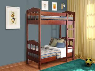 Ліжко двоярусне в дитячу кімнату з дерева 2-х ярусне Капітошка 80*190 Єлісєєвські меблі