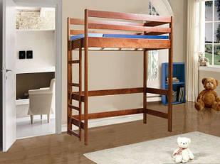 Ліжко двоярусне в дитячу кімнату з дерева-чердак Антошка 80*190 Єлісєєвські меблі