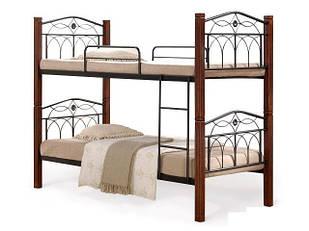 Ліжко коване в спальню Міранда М двоярусне (каштан) Domini