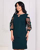 Нарядное платье с открытыми плечами и бусинами батал зеленый, 3хл