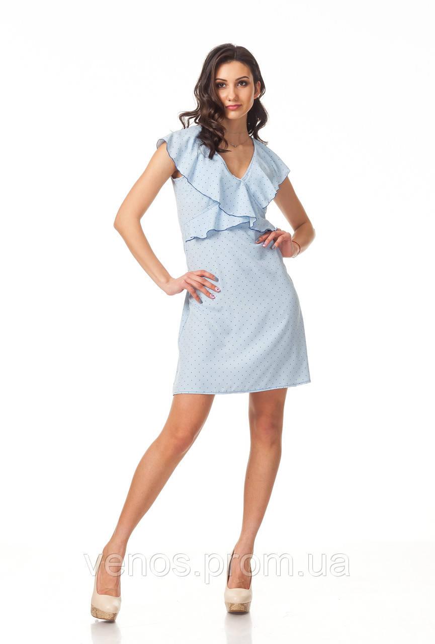 Нежное цветочное летнее платье. П113_сердечки голубые