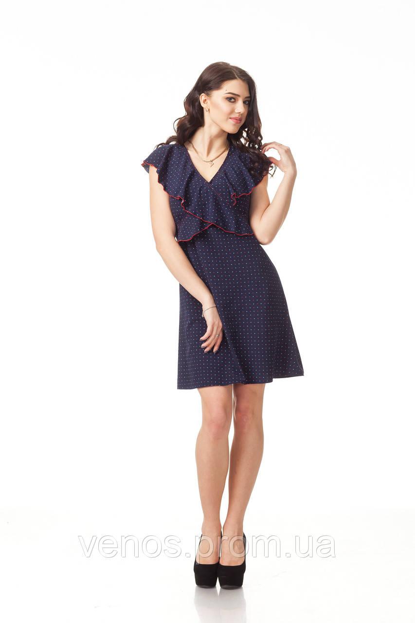 Нежное цветочное летнее платье. П113_сердечки синие