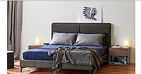 Ліжко двоспальне 160*200 в спальню з масиву гевеї/МДФ/тканини Мілано Domini