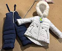 """Детский зимний комбинезон """"Девочка"""" на овчине (бело-синий), фото 1"""