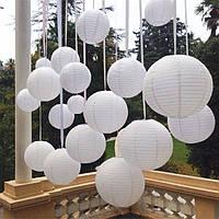 Фонарь белый бумажный (d-45 см).Китайский подвесной фонарик., фото 1
