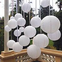 Фонарь белый бумажный (d-45 см).Китайский подвесной фонарик.