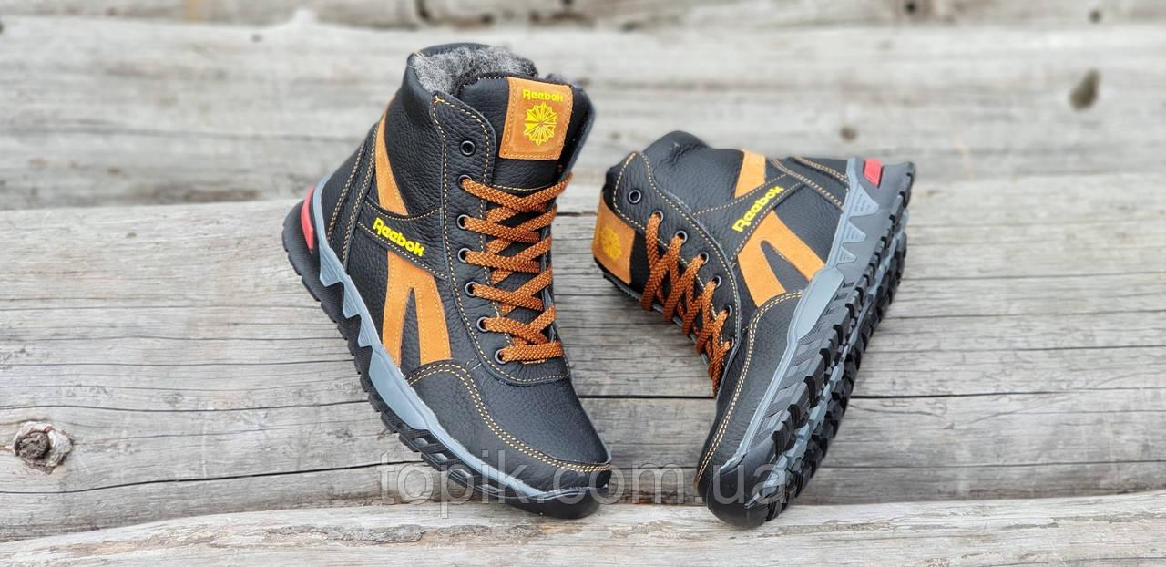 ... Подростковые зимние высокие кожаные кроссовки ботинки Reebok рибок  реплика мужские черные мех (Код  1256 ... a018ee388997a
