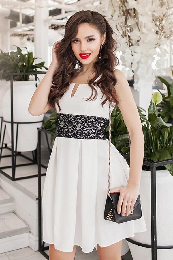 M (44-46) / Коктейльне біле плаття з гіпюром Dieva