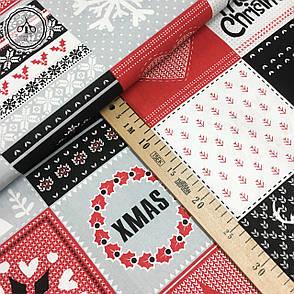 """Польская хлопковая ткань """"елки, снежинки на красных, черных, белых квадратах"""", фото 2"""