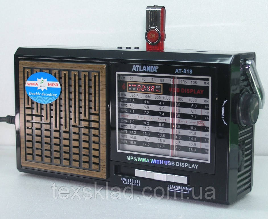 Радіоприймач АТ-818 (64-108mhz/220V/USB)