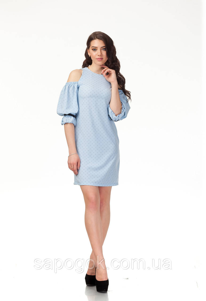 Трендовое летнее платье. П120_голубые сердечки