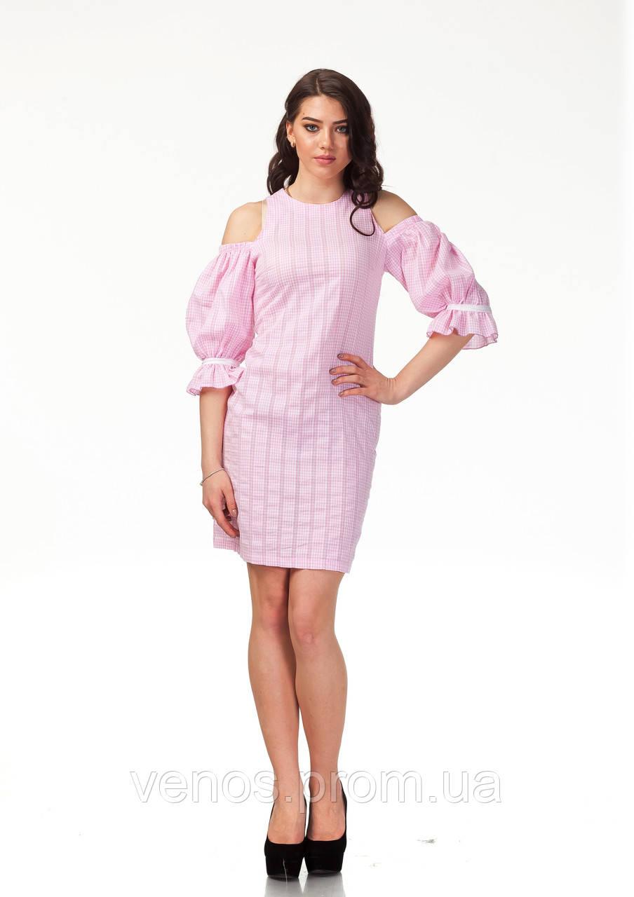 Трендовое летнее платье. П120_хлопок клетка розовая