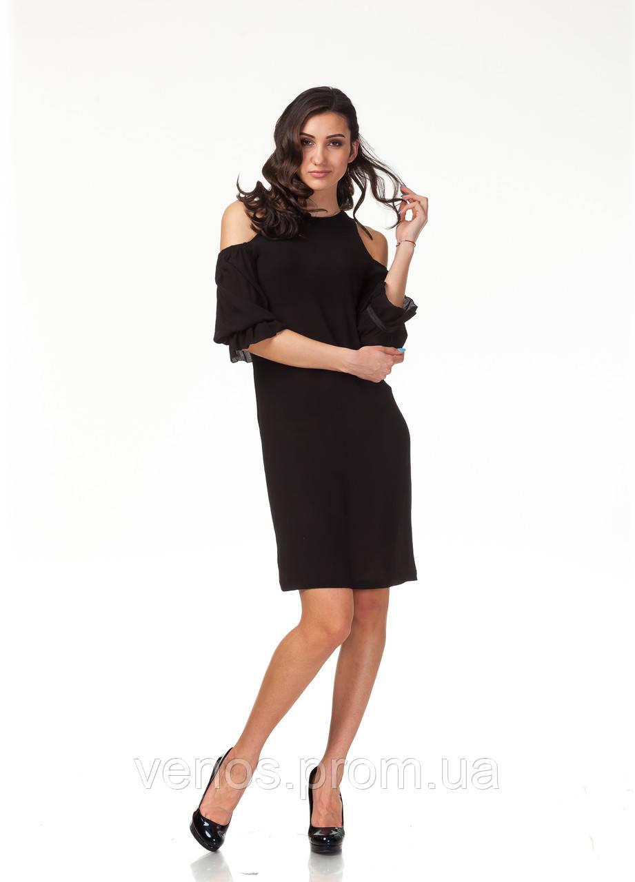 Трендовое летнее платье. П120_черная жатка