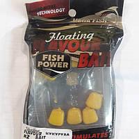 Плавающая силиконовая приманка кукуруза с ароматом кукурузы. Fish Power. flavour floating bait
