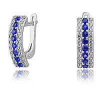 """Серебряные серьги с синими камнями """"Энже"""", арт-920113с"""