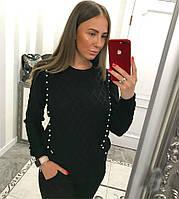 Черный вязаный костюм с жемчугом, фото 1