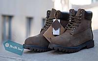 Женские зимние коричневые ботинки Timberland с мехом тимберленд (реплика)