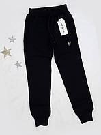 Штаны спортивные теплые на мальчика, на флисе, размер 140-164, черный