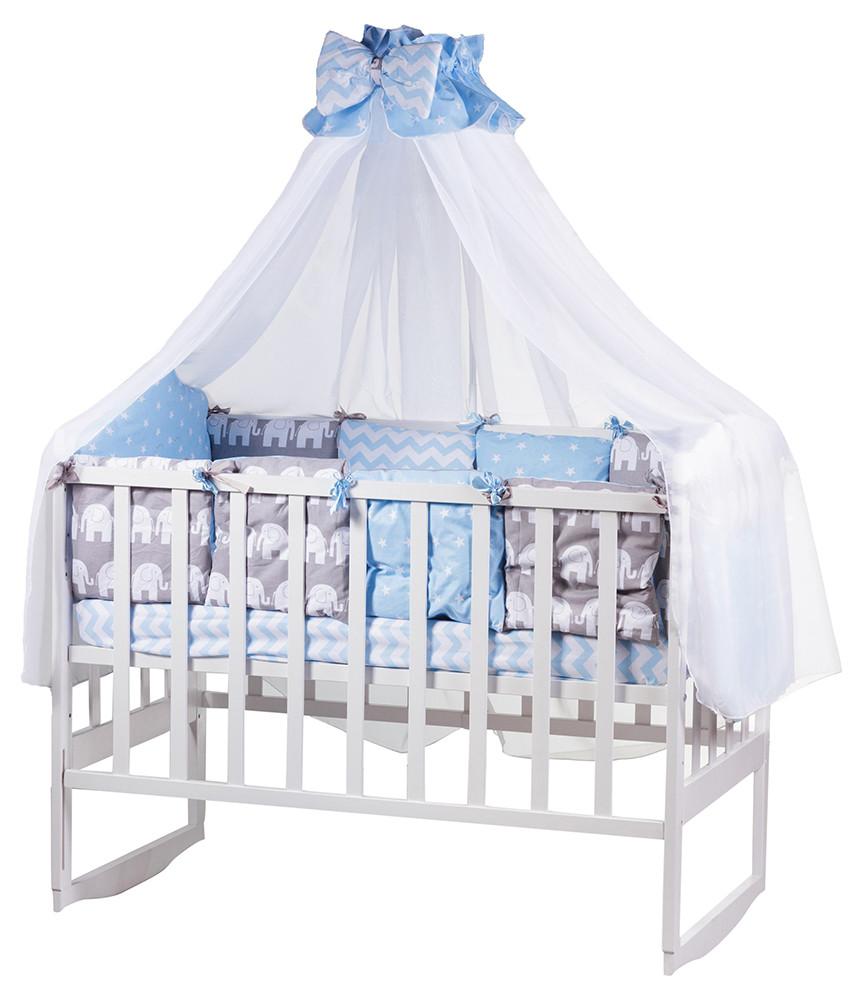 Детская постель Babyroom Bortiki lux-08 elephant голубой-серый