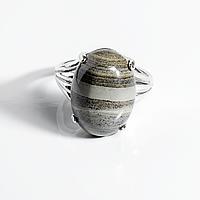 Яшма полосатая, 18*13 мм., серебро 925, кольцо, 947КЯ