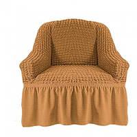Чехол на кресло с оборкой Медовый, фото 1