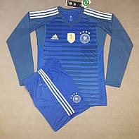 Футбольная форма сборной Германии вратарская с длинным рукавом сезон 2018 (синяя), фото 1