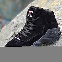 Зимние черные кроссовки в стиле FILA на платформе женские, подростковые унисекс на высокой подошве (Код: 1263), фото 1