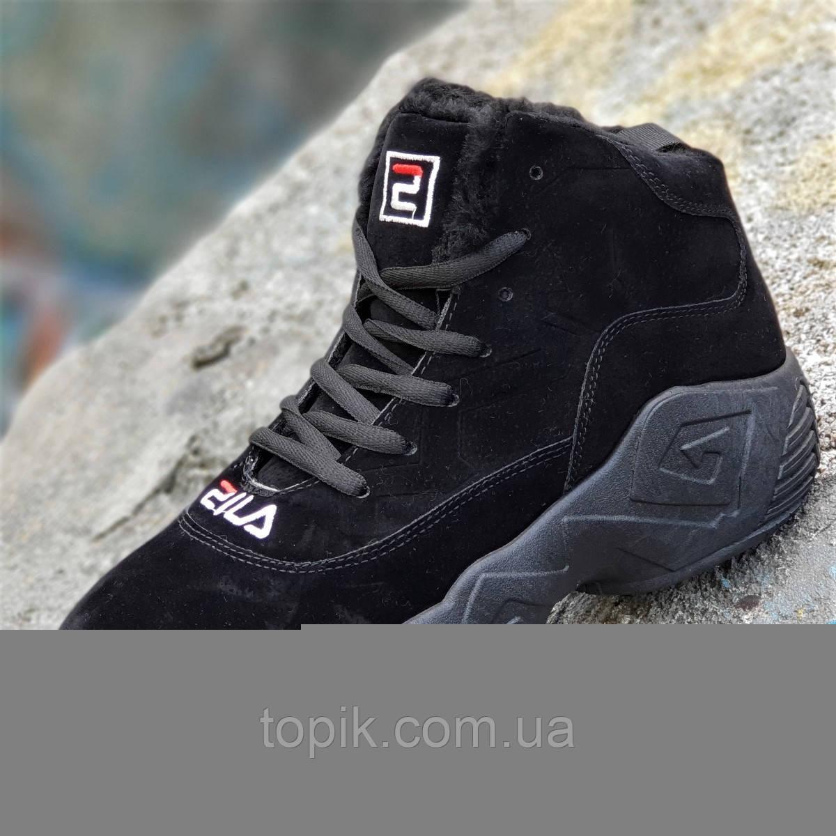 Зимние черные кроссовки в стиле FILA на платформе женские, подростковые унисекс на высокой подошве (Код: 1263)