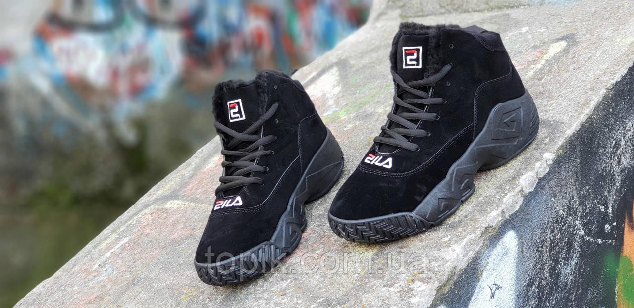 50369bbc ... Зимние черные кроссовки в стиле FILA на платформе женские, подростковые  унисекс на высокой подошве ...