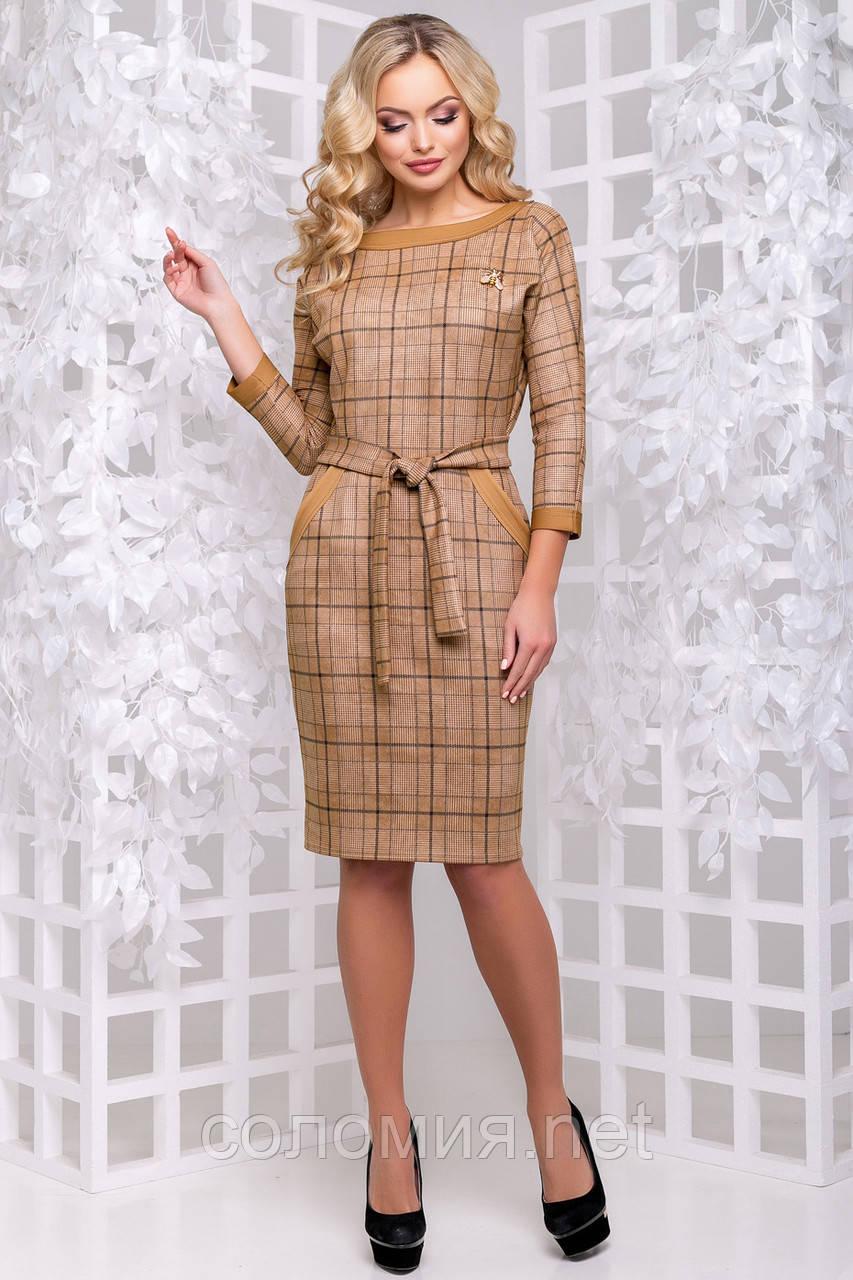 Стильное платье с отделкой из кожи 44- 50р