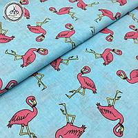 """Польская хлопковая ткань """"фламинго розовые с контуром на голубом"""""""