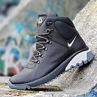 Высокие зимние черные мужские кроссовки Nike кожаные на толстой подошве натуральный мех (Код: 1265)