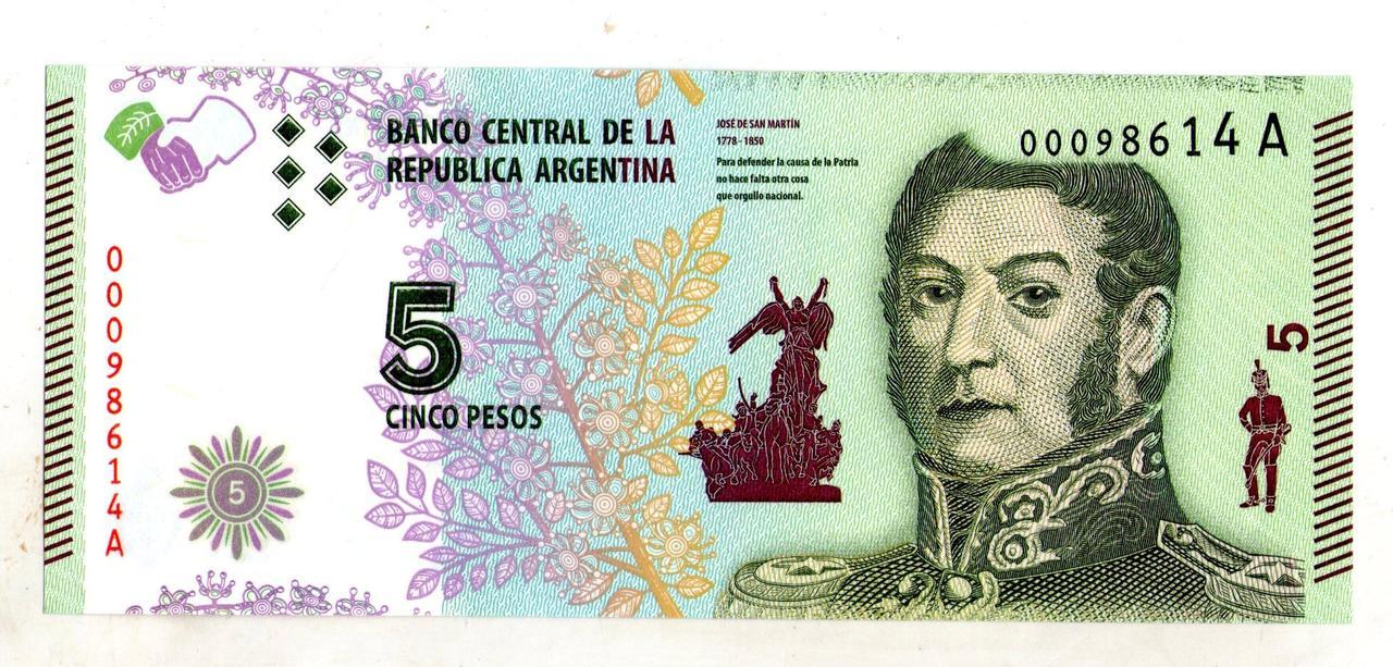 Аргентина 5 песо состояние UNC