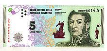 Аргентина 5 песо стан UNC №104