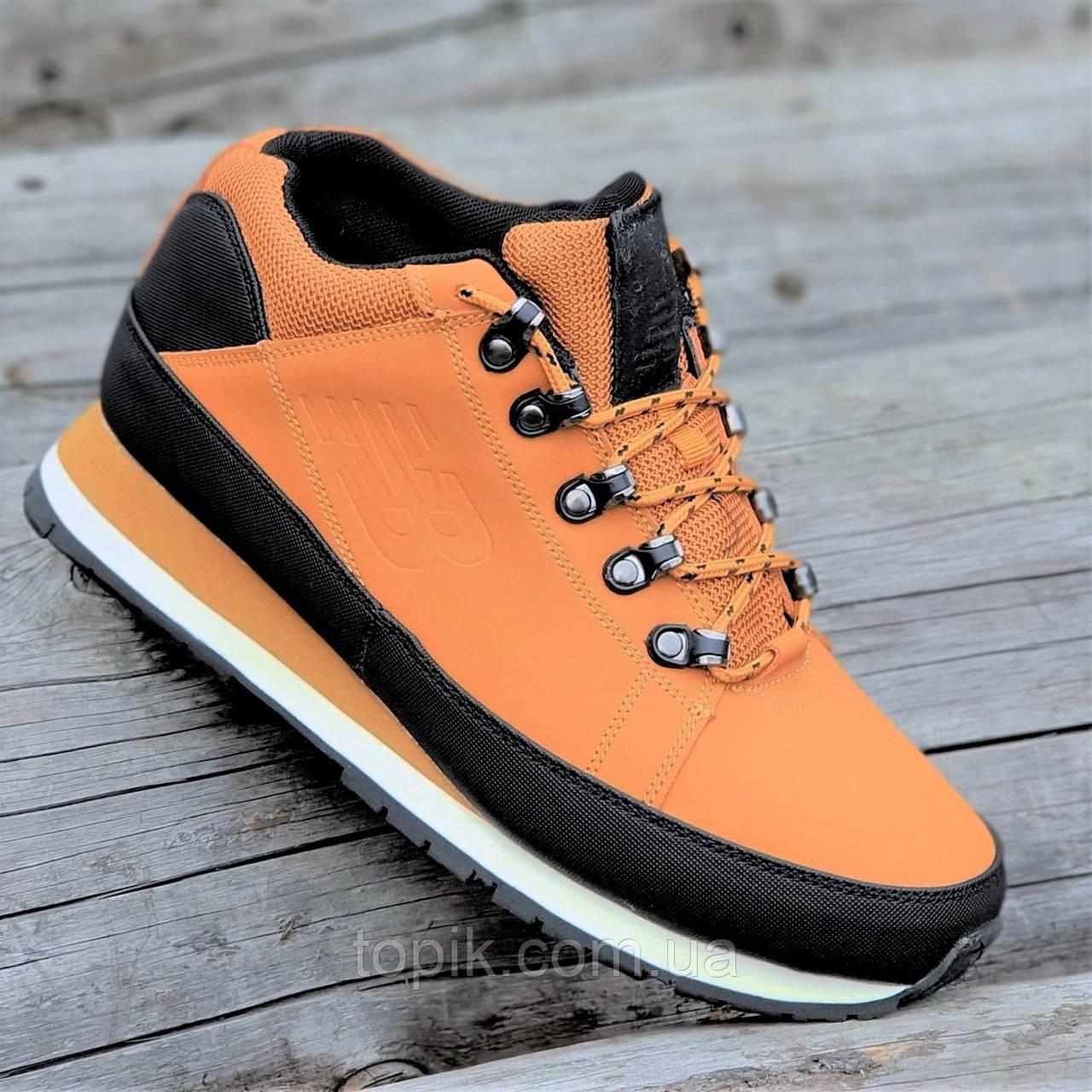 Кроссовки ботинки зимние New Balance 754 реплика мужские кожаные рыжие легкие удобные (Код: 1292)