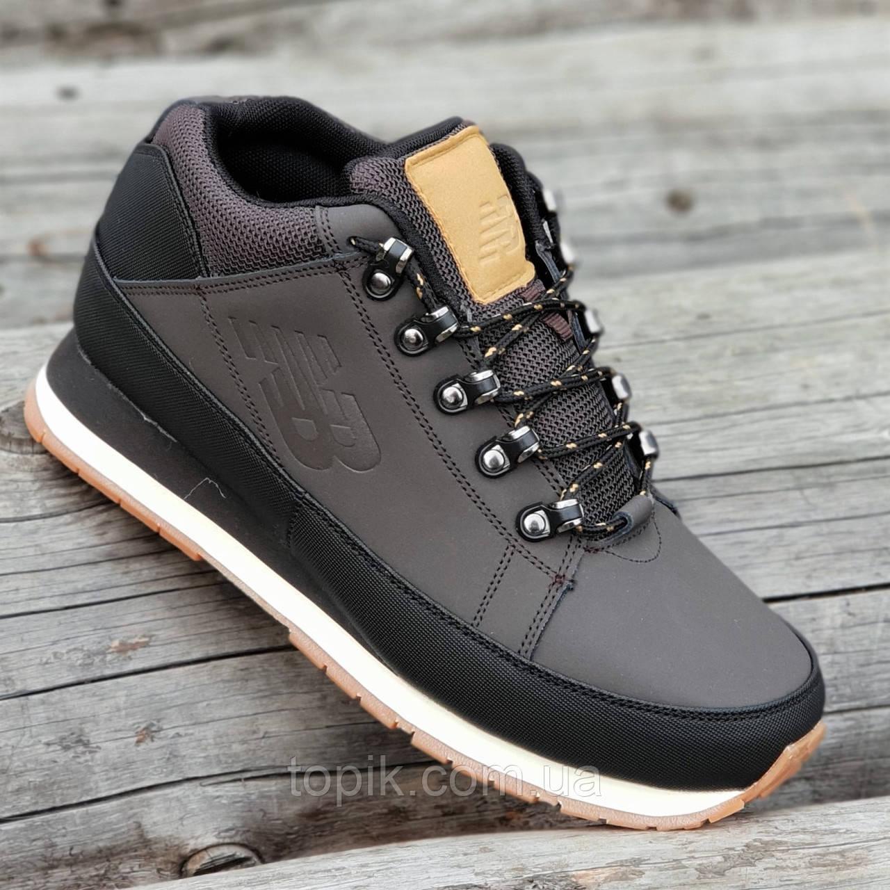Кроссовки ботинки зимние кожаные New Balance 754 реплика мужские темно коричневые легкие удобные (Код: 1293)