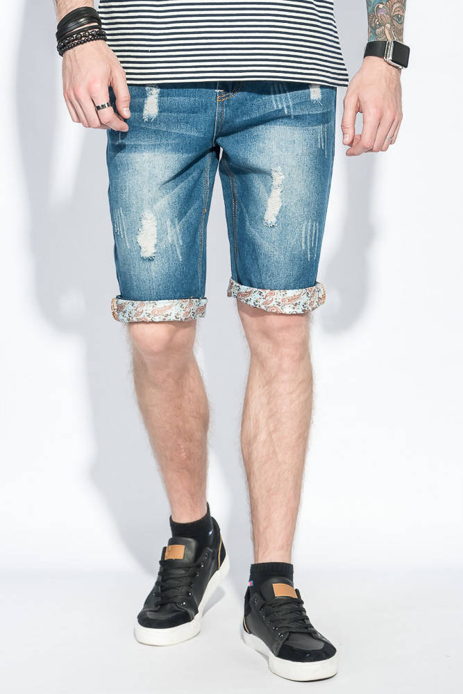 Шорты мужские джинс с подворотами 105V001-1 (Синий)