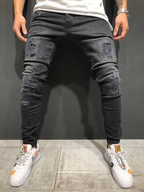 Мужские джинсы зауженные темно-серые, фото 2