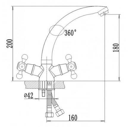 Смеситель для кухни Q-tap  Dominox CRM 272  , фото 2