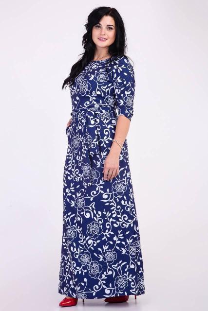 Длинное платье в пол с рисунком