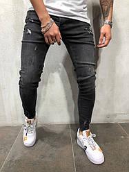 Мужские джинсы Zara зауженные черные топ реплика