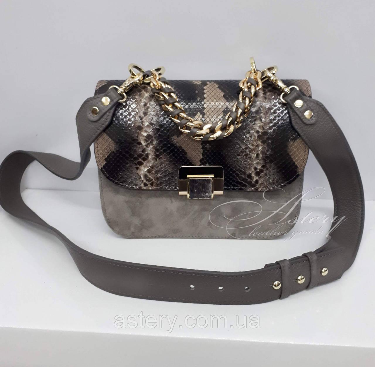 cc89e9a347d3 Женская серая замшевая сумка AGATA Gold с серым питоном - Astery Leather  Goods в Киеве