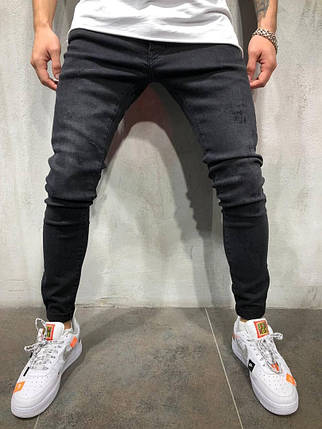 Мужские джинсы зауженные черного цвета, фото 2