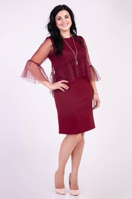 Нарядное платье .с рукавами из сетки