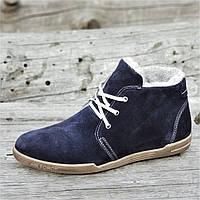 Зимние мужские классические полуботинки, ботинки на шнурках и молнии темно синие натуральная замша (Код: 1266)