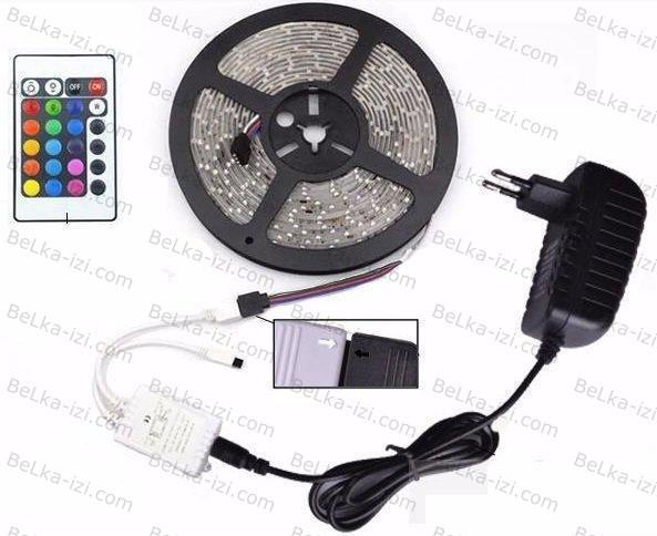 Светодиодная лента RGB 3528 длинной 5м с контроллером