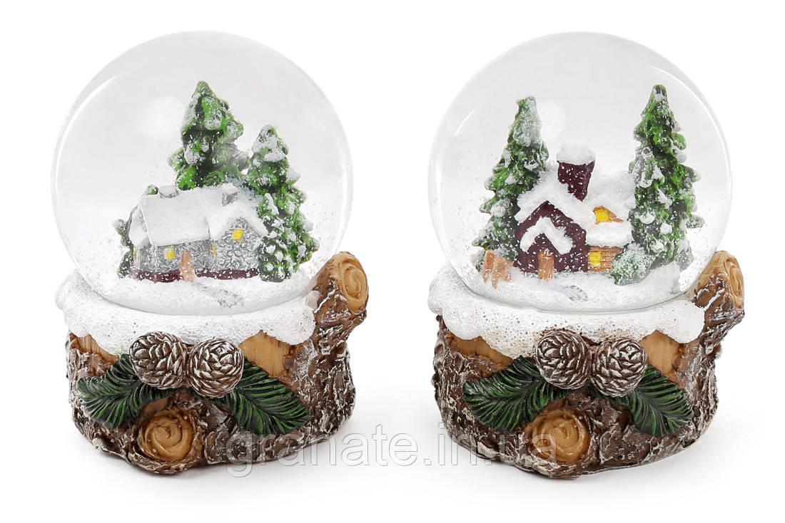 """Снежный водяной шар """"Избушка в лесу"""" 9 см (6 шт. )"""
