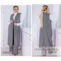 Кардиган женский большого размера 680 длинный шерстяной R-20663 серый, фото 1