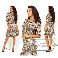 Платье женское норма приталенное леопардовое ФМ-11512 шоколадный, фото 1