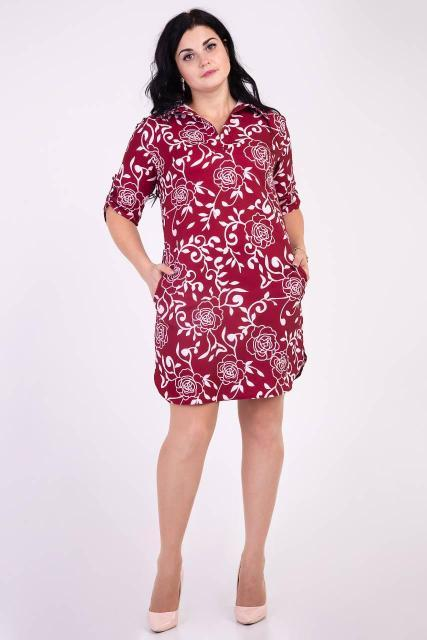 Стильное платье-рубашка с рукавом .